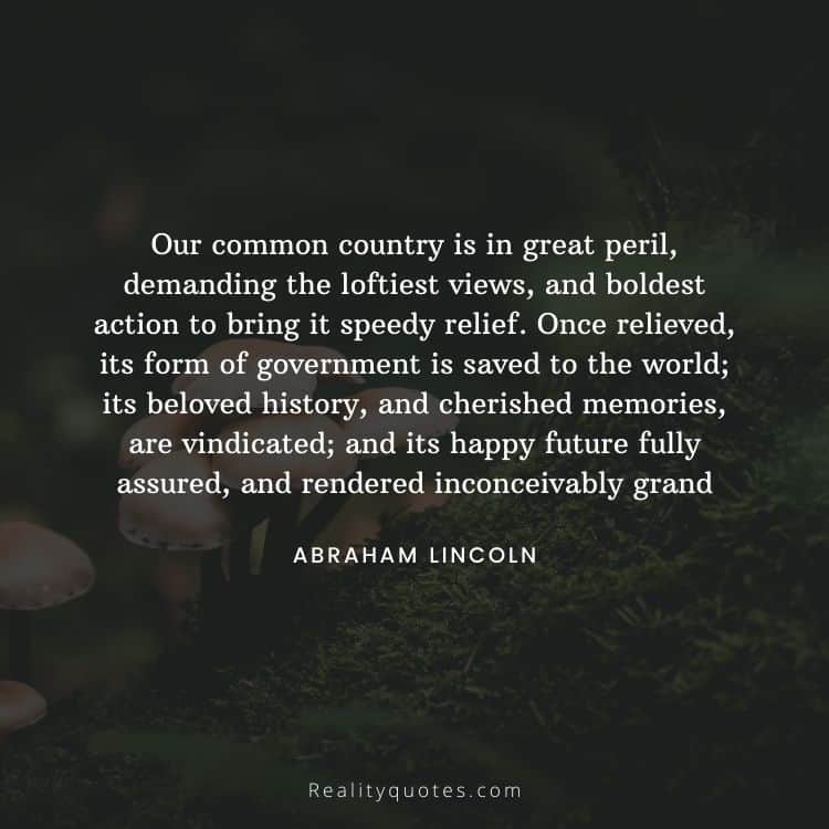 Our common country is in great peril, demanding the loftiest views, and boldest action to bring it speedy relief. Once relieved, its form of government is saved to the world; its beloved history, and cherished memories, are vindicated; and its happy future fully assured, and rendered inconceivably grand