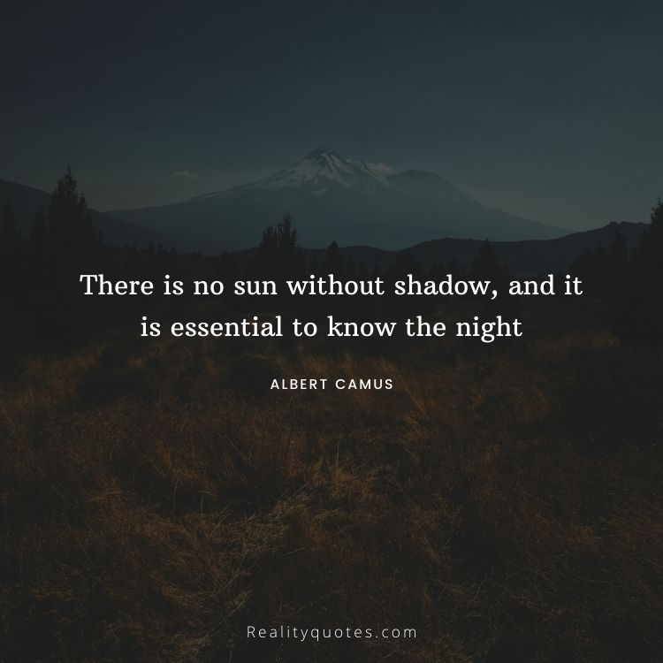 There is no sun without shadow, and it is essential to know the night