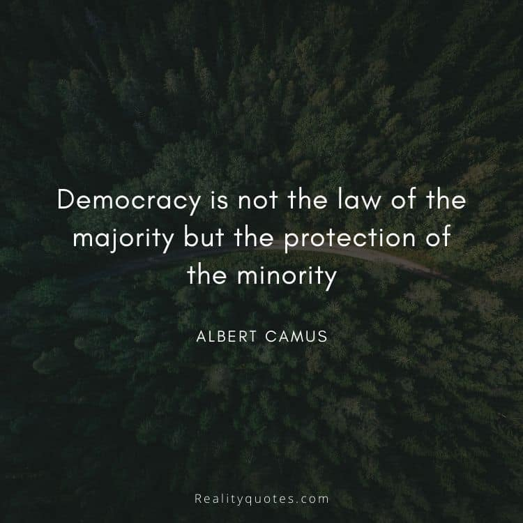 Democracy is not the law of the majority but the protection of the minority