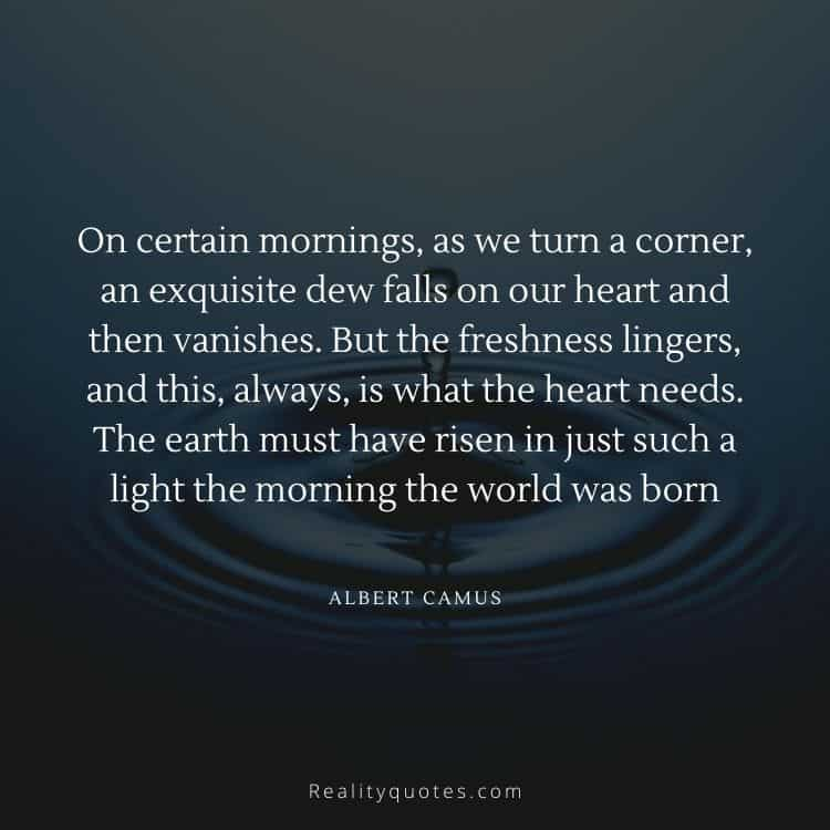 On certain mornings, as we turn a corner, an exquisite dew falls on our heart and then vanishes. But the freshness lingers, and this, always, is what the heart needs. The earth must have risen in just such a light the morning the world was born