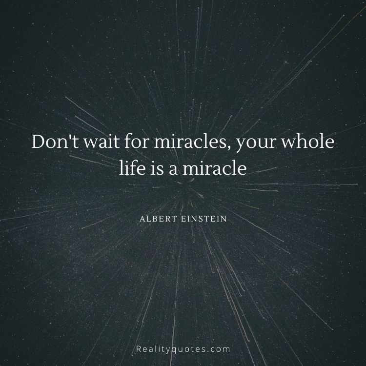 Don't wait for miracles, your whole life is a miracle