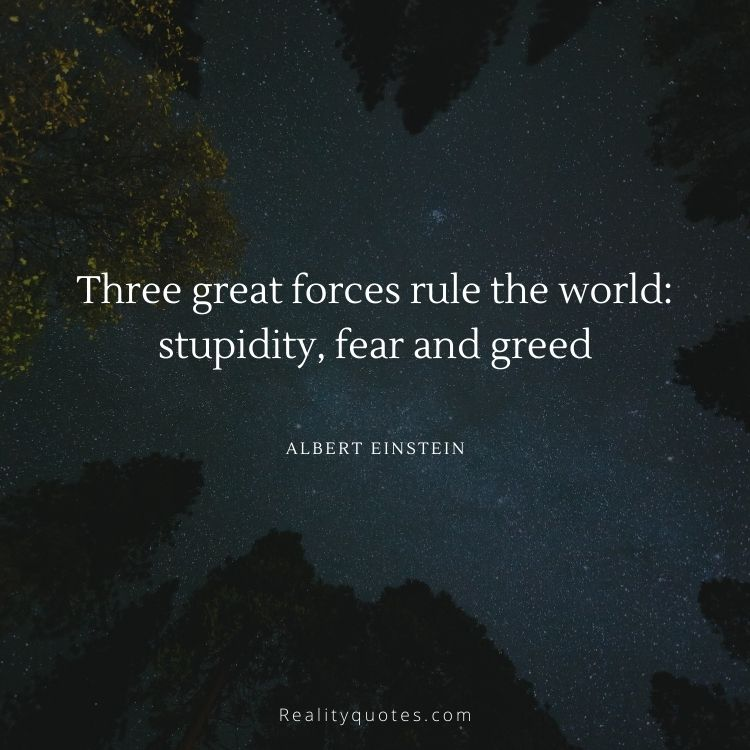 Three great forces rule the world: stupidity, fear and greed