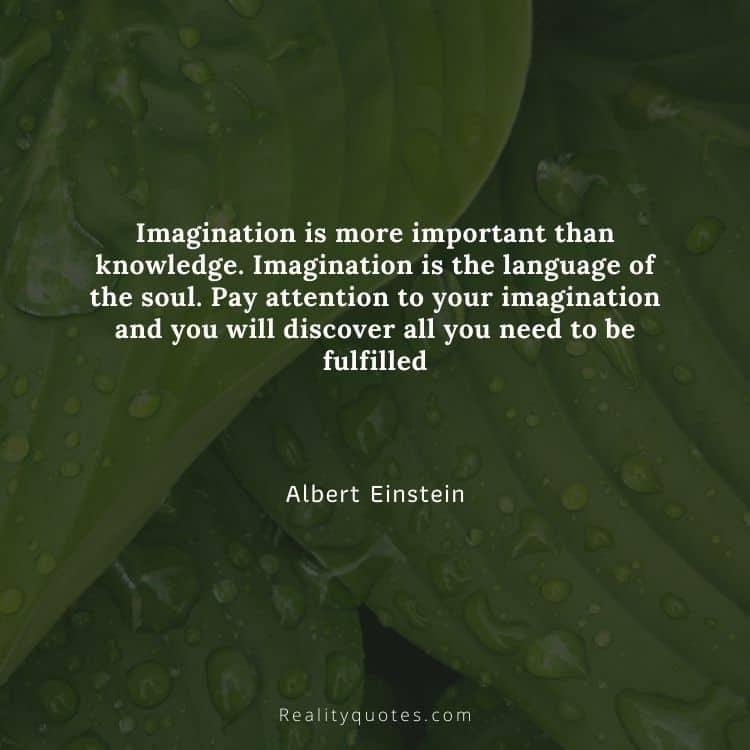 Imagination is more important than knowledge. Imagination is the language of the soul. Pay attention to your imagination and you will discover all you need to be fulfilled