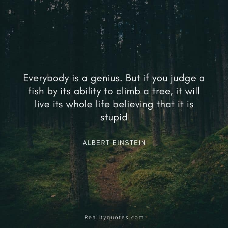 Everybody is a genius. But if you judge a fish by its ability to climb a tree, it will live its whole life believing that it is stupid