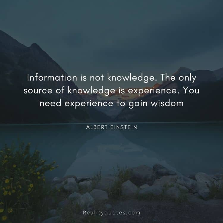 Information is not knowledge. The only source of knowledge is experience. You need experience to gain wisdom