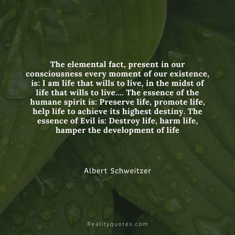 The elemental fact, present in our consciousness every moment of our existence, is: I am life that wills to live, in the midst of life that wills to live…. The essence of the humane spirit is: Preserve life, promote life, help life to achieve its highest destiny. The essence of Evil is: Destroy life, harm life, hamper the development of life