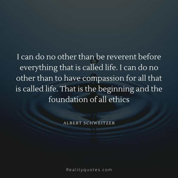 I can do no other than be reverent before everything that is called life. I can do no other than to have compassion for all that is called life. That is the beginning and the foundation of all ethics