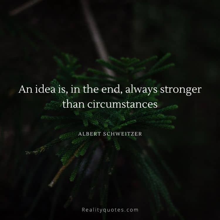 An idea is, in the end, always stronger than circumstances