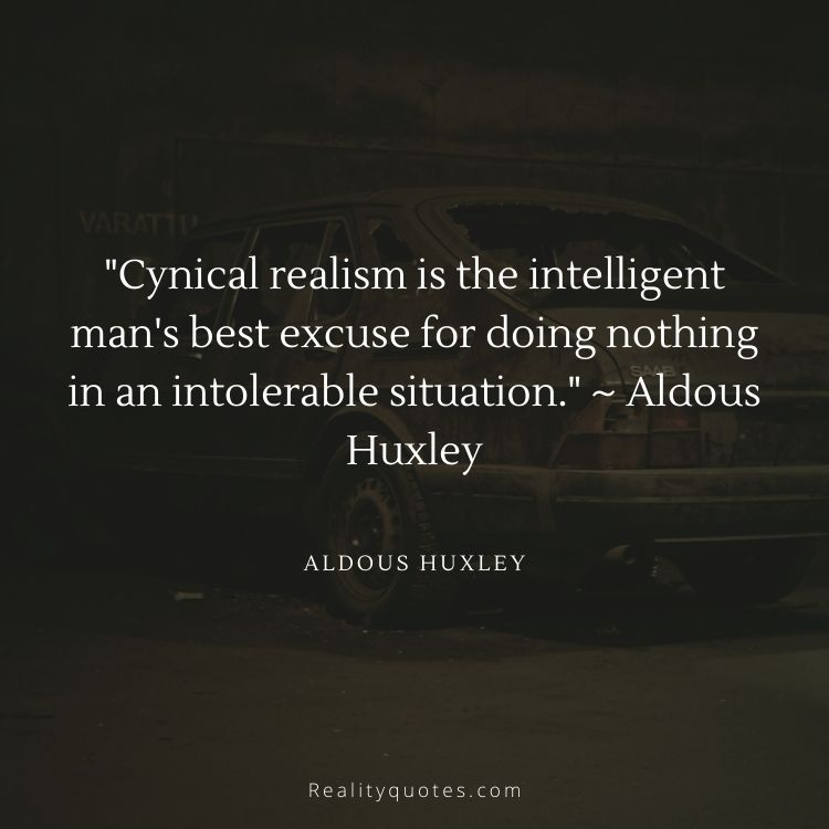 Cynical realism is the intelligent man's best excuse for doing nothing in an intolerable situation