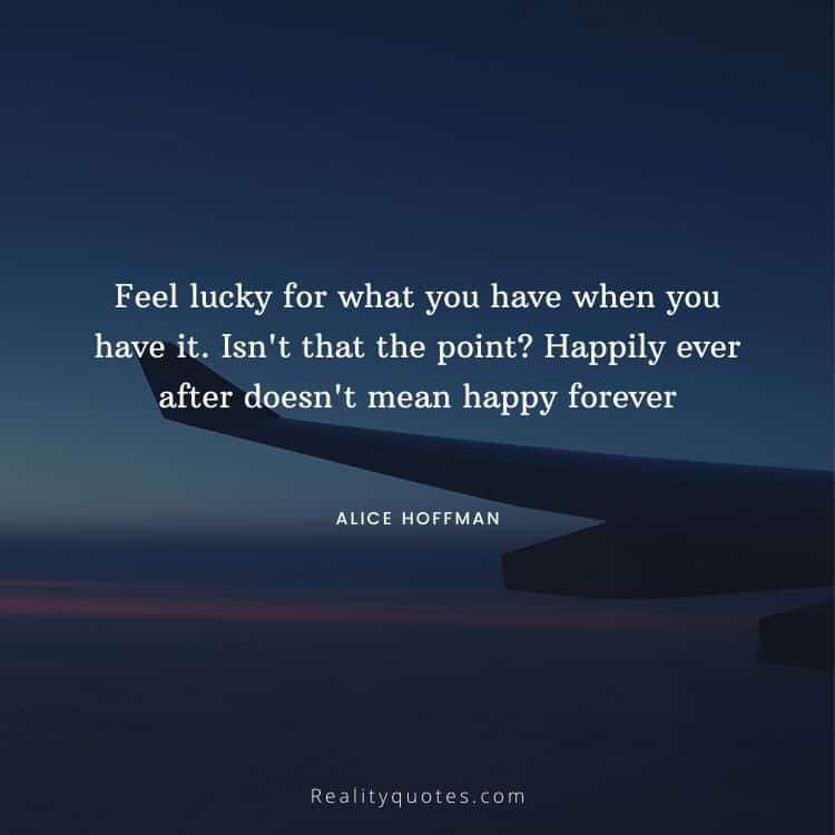 Feel lucky for what you have when you have it. Isn't that the point? Happily ever after doesn't mean happy forever