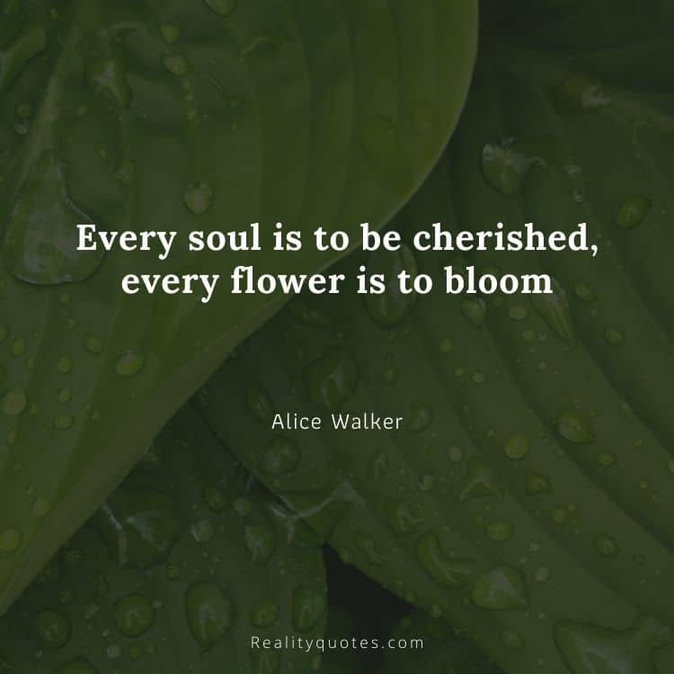 Every soul is to be cherished, every flower is to bloom