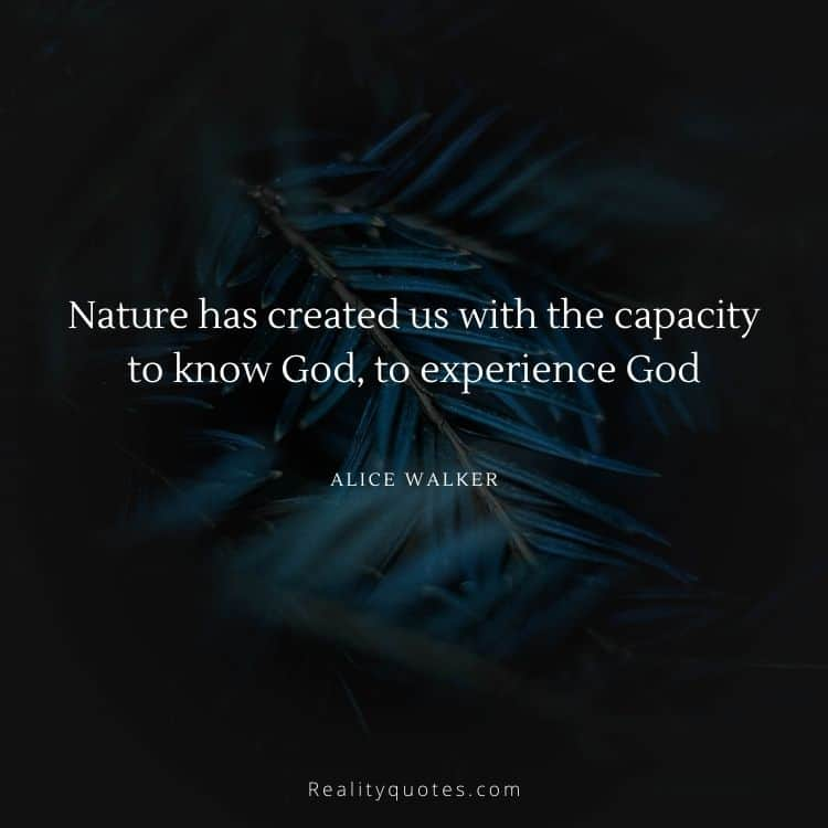 Nature has created us with the capacity to know God, to experience God