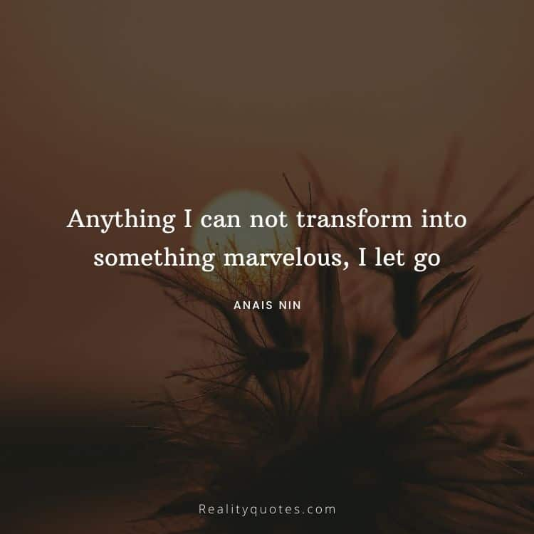 Anything I can not transform into something marvelous, I let go