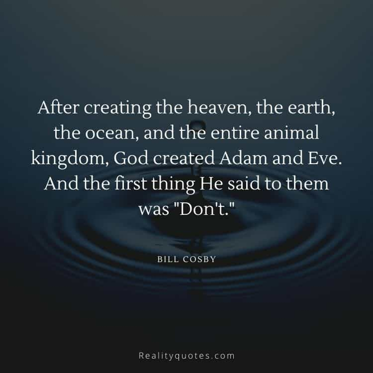 """After creating the heaven, the earth, the ocean, and the entire animal kingdom, God created Adam and Eve. And the first thing He said to them was """"Don't"""