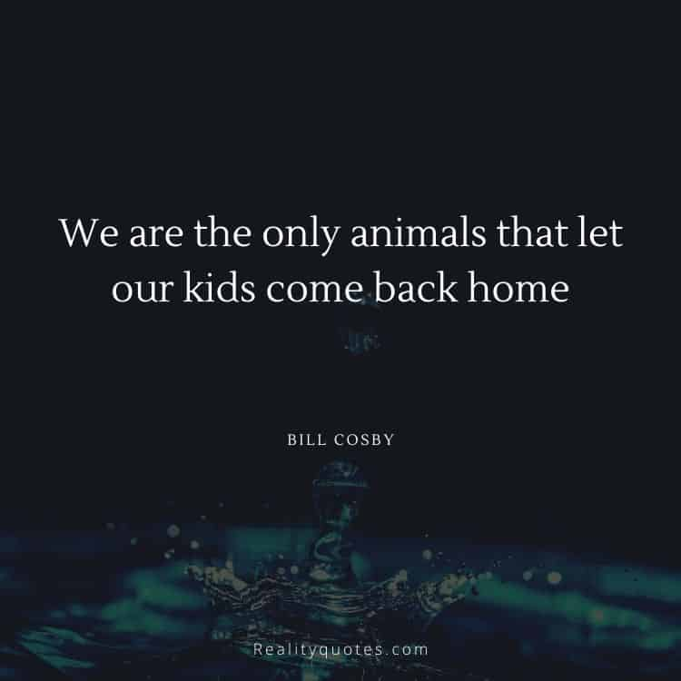 We are the only animals that let our kids come back home