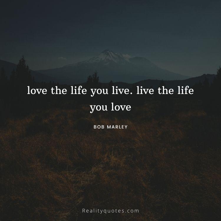 love the life you live. live the life you love