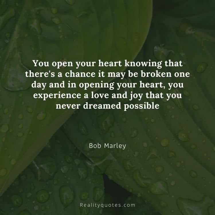 You open your heart knowing that there's a chance it may be broken one day and in opening your heart, you experience a love and joy that you never dreamed possible