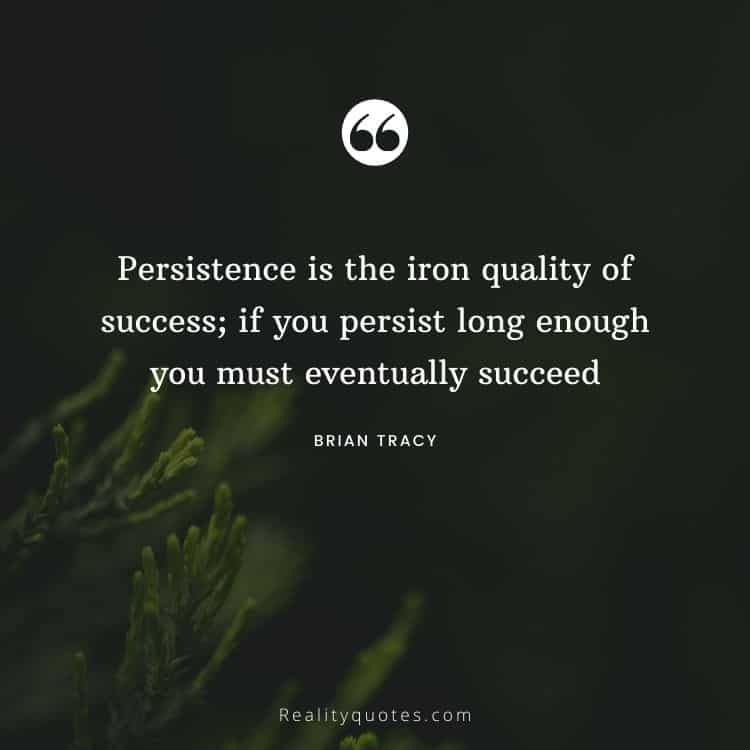 Persistence is the iron quality of success; if you persist long enough you must eventually succeed