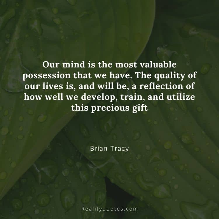 Our mind is the most valuable possession that we have. The quality of our lives is, and will be, a reflection of how well we develop, train, and utilize this precious gift