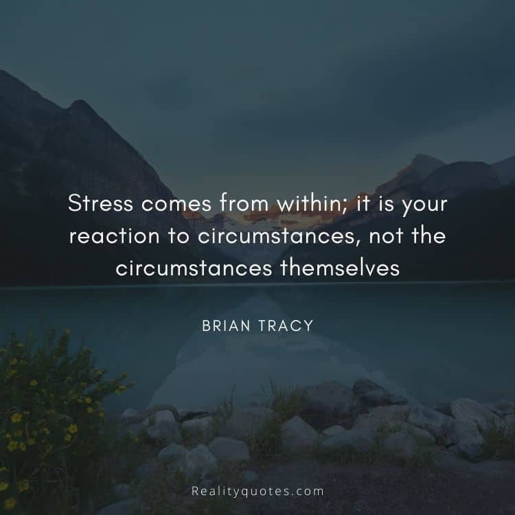 Stress comes from within; it is your reaction to circumstances, not the circumstances themselves